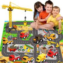 Engineering Construction Vehicles Toys with Play Mat, Toy Trucks, Mini Pull Back Cars Playset, Dump Truck, Excavator, Cement, Fire Engines, Delivery Trucks, Toy Gifts for Boys, Girls, Toddlers & Kids
