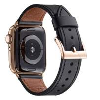 WFEAGL Compatible iWatch Band 40mm 38mm, Top Grain Leather Band with Gold Adapter (The Same as Series 4 with Gold Stainless Steel Case in Color) for iWatch Series 4/3/2/1 (Black Band+Gold Adapter)