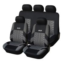 Adeco Universal Fit Seat Covers (Grey on Black, 9 Pieces)