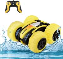 WomToy Waterproof Stunt RC Car,4WD Amphibious Remote Control Car Boat Double Sided Driving On Water & Land Electric Stunt Car for Kids with 360° Spins and Flips