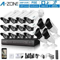 A-ZONE 16 CH 1080P DVR AHD Security Camera 16 System W/ 12x HD 960P 1.3MP Fixed Camera Home Surveillance System & 4X HD 1.3MP Varifocal Camera IR 2.8-12mm Lens Camera-Including 2TB HDD