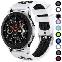 Lerobo 22mm Watch Band Compatible with Samsung Galaxy Watch 46mm/Galaxy Watch 3 45mm/Gear S3 Classic/Frontier,22mm Soft Silicone Breathable Watch Strap Wristband for Women Men,(White/Black)