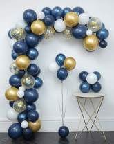 Navy Blue Balloons 121 Pcs Garland Kit & Confetti Balloons,Metallic gold ,White Latex Balloon ,Tying tools,Decorating Strip,Glue Dots,Flower Clips,Ribbon,Birthday Baby Shower Wedding Party Decorations
