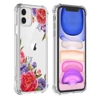 Peony Flower Case for iPhone 11 2019, Clear iPhone 11 Peony Floral Case Girl and Women Floral Back Cover, Transparent Flexible TPU Bumper Shockproof Protective Case