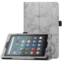 "Famavala Folio Case Cover Compatible with All-New 7"" Fire 7 Tablet [9th Generation, 2019 Release] (MarbleGray)"