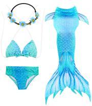 GALLDEALS 3pcs Mermaid for Swimming Bathing Suit Princess Bikini Set Mermaid Costume Cosplay for Kids Girls Swimsuit, 3-12Y