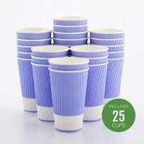 Insulated Paper Coffee Cups - Ripple Wall - Light Purple - 16 oz - 25ct Box - MATCHING LIDS SOLD SEPARATELY: RWA0360B, RWA0360W, RWA0328LG, RWA0328GR, RWA0328HP, RWA0283W, RWA0283B