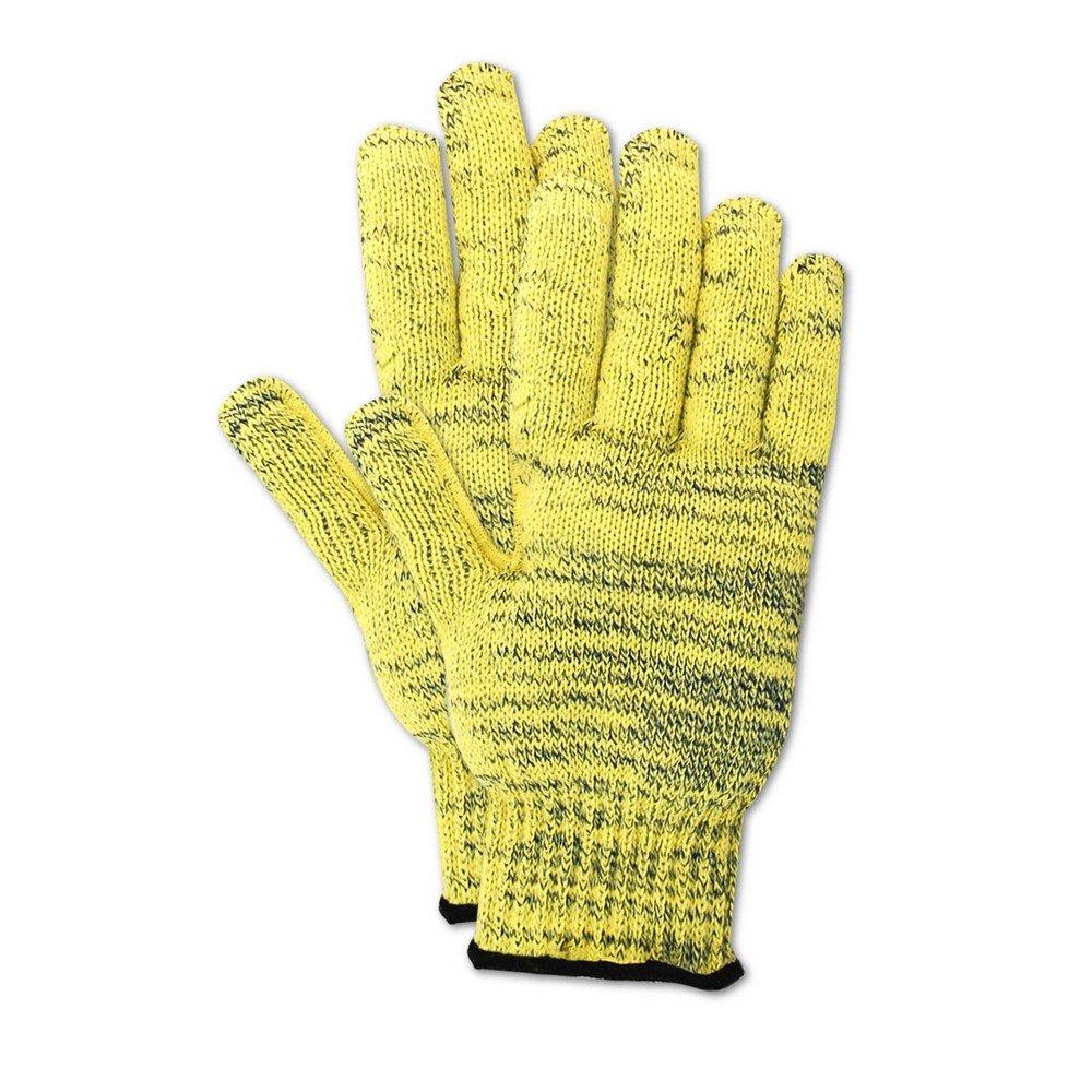 Magid Glove & Safety KA1000-9 Cut Master KA1000 Kevlar Armor Blend Seamless Knit Gloves, Cut Level 5, Large, Yellow