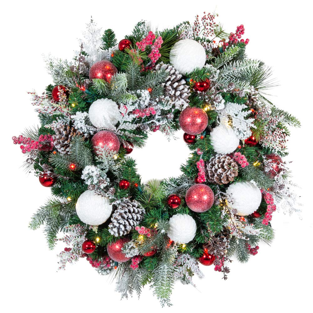 [30 Inch Artificial Christmas Wreath] - Frosted Wonderland Collection - Red White Decoration - Pre Lit with 50 Candy Cane Colored LED Mini Lights - Includes Remote Controlled Battery Pack with Timer