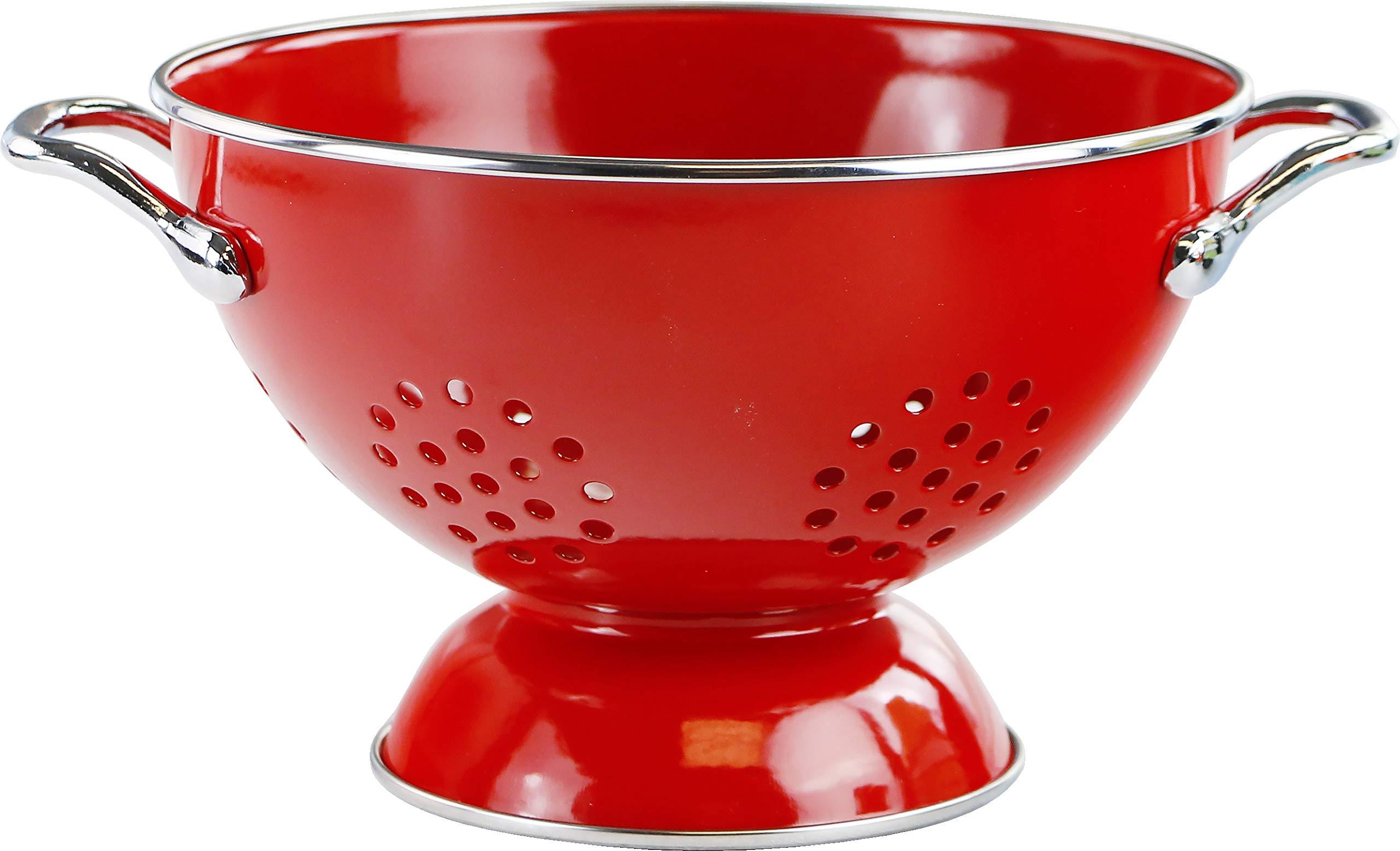 Calypso Basics by Reston Lloyd Powder Coated Enameled Colander, 1.5 Quart, Red