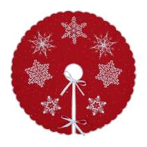 Simhomsen Small Mini Christmas Holiday Embroidered Snowflakes Tree Skirt, only for Tabletop Pencil Tree (Red, Round 21 Inches)