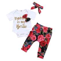 Baby Girl Clothes Newborn Summer Infant Outfits 3Pcs Floral Pants + Short Romper Playsuit + Headband