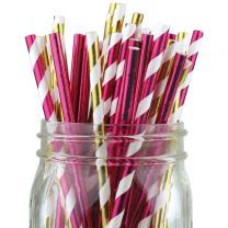 Just Artifacts Assorted Color & Pattern 100pcs Premium Biodegradable Party Paper Straws – Metallic Gold/Metallic Pink