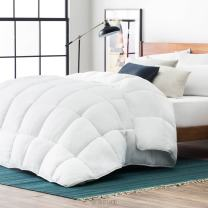 LUCID Alternative Comforter-Hypoallergenic-All Season-400 GSM-Ultra Soft and Cozy-8 Duvet Loops-Box Stitched-3 Year Warranty-Machine Washable-Full-White