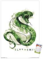 "Trends International Poster Mount Wizarding World: Harry Potter-Slytherin Illustrated House Logo, 22.375"" x 34"", Poster & Mount Bundle"