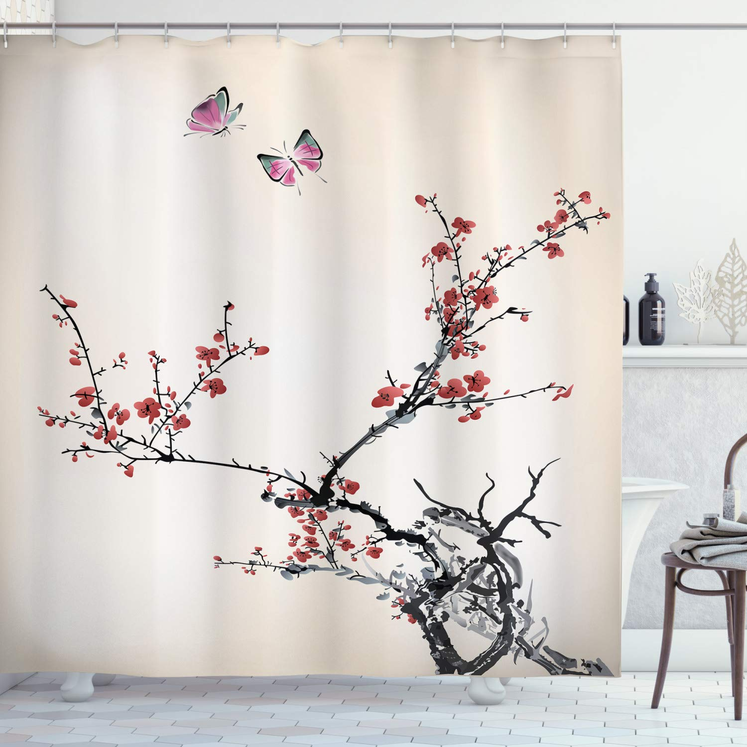 Ambesonne Watercolor Flower Shower Curtain Japanese Tree Branches Flowers Butterflies Display Cloth Fabric Bathroom Decor Set With Hooks 84 Long Extra Coral Black