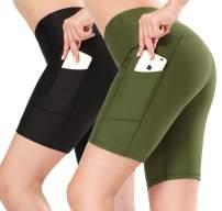 SILKWORLD 2 Pack Compression High Waist Running Yoga Shorts with Hidden Pockets