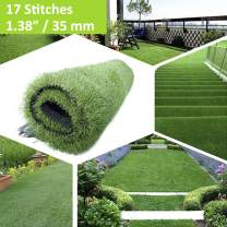 """XuSha 1.38""""/35mm 17 Stitches Artificial Turf Grass Synthetic Realistic Indoor/Outdoor Turf Pet Grass Mat Artificial Turf for Dogs Pee Pads Garden Lawn Landscape 10 Years Warranty(65 Square ft)"""