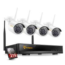 Anlapus 8 Channel H.265+ Wireless Security Camera System 1080p with Hard Drive 2TB, 8CH 1080p NVR with 4pcs 2MP HD Weatherproof Surveillance IP Camera with 65ft Night Vision, 24/7 Recording