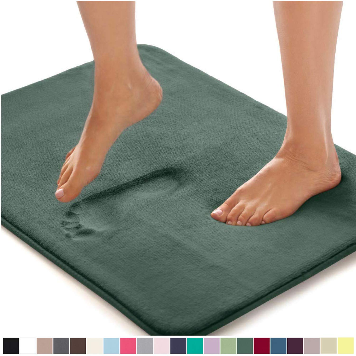 Gorilla Grip Original Thick Memory Foam Bath Rug, 60x24, Cushioned, Soft Floor Mats, Absorbent Premium Bathroom Mat Rugs, Machine Washable, Luxury Plush Comfortable Carpet for Bath Room, Hunter Green