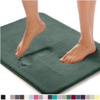 Gorilla Grip Original Thick Memory Foam Bath Rug, 48x24, Cushioned, Soft Floor Mats, Absorbent Premium Bathroom Rugs, Machine Wash and Dry, Luxury Plush Comfortable Carpet for Bath Room, Hunter Green