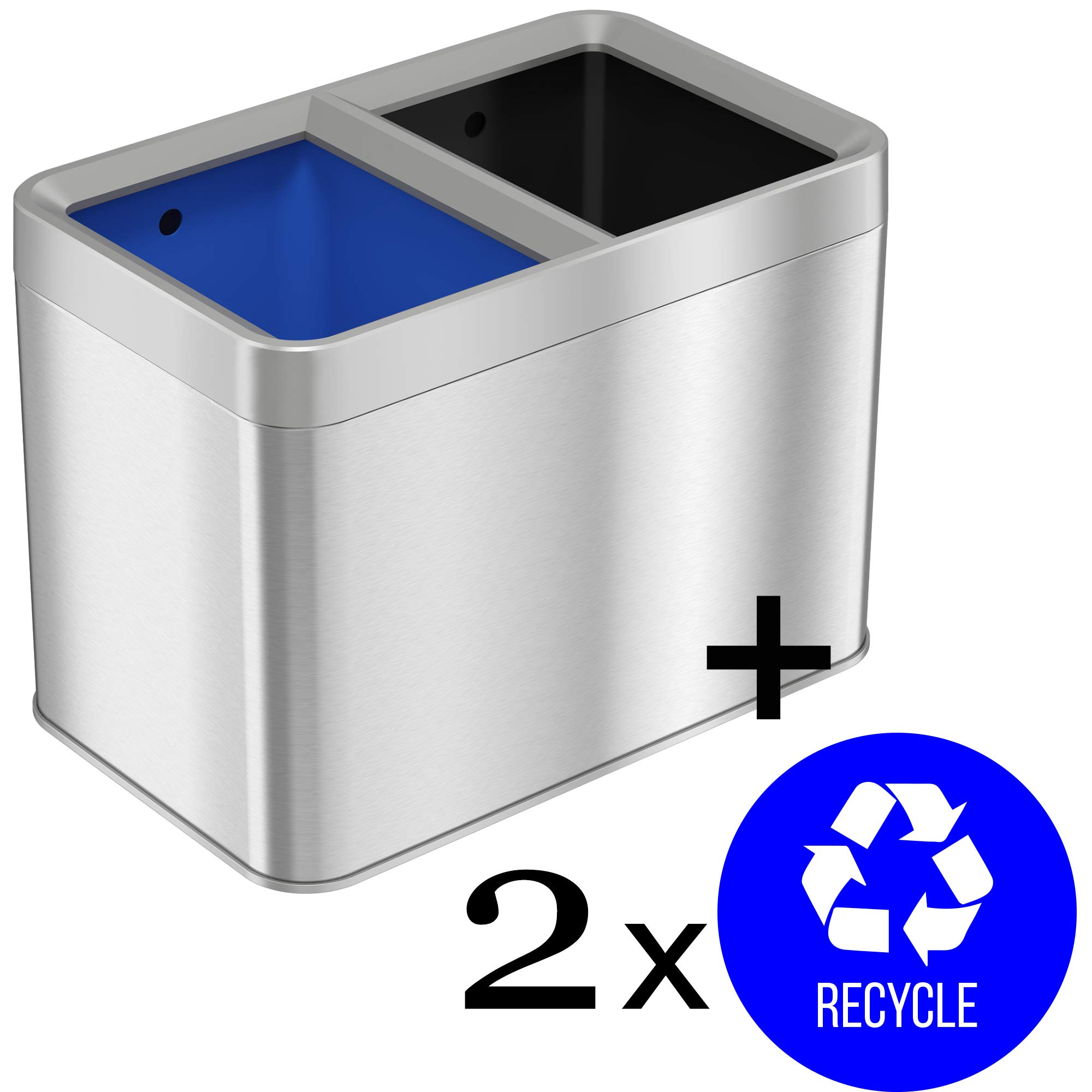 iTouchless Open Top Waste Bin for Trash Can & Recycle Bin with 2 Recycle Stickers, Dual Compartment Slim Stainless Steel Container, 20 Liter / 5.3 Gallon