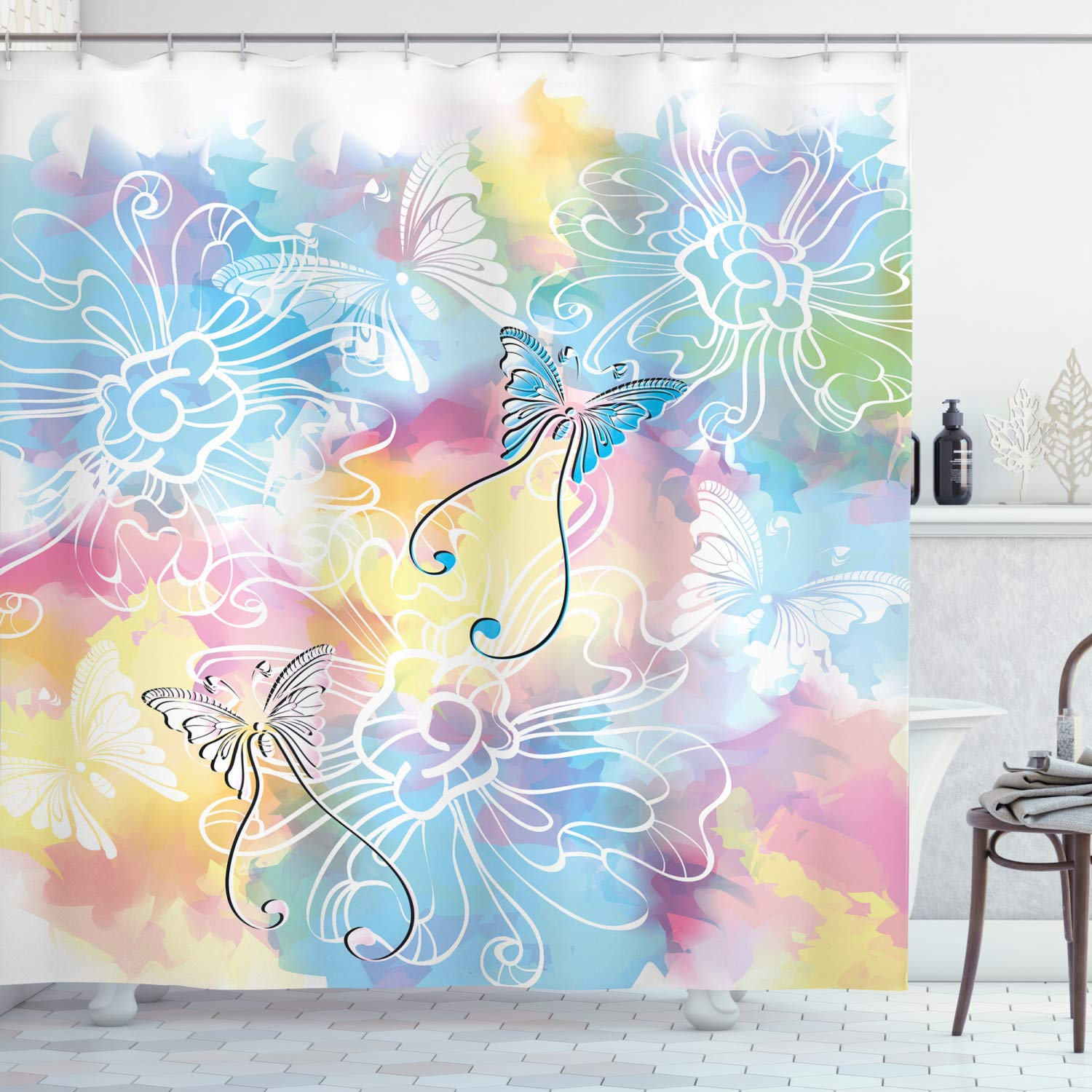 """Ambesonne Colorful Shower Curtain, Romantic Brushstroked Backdrop with Haze Blur Splash Features and Moth Antler, Cloth Fabric Bathroom Decor Set with Hooks, 70"""" Long, Blue Pink"""