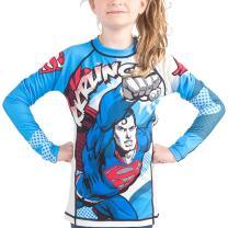 Fusion Superman Krunch Kids Rash Guard Compression Shirt- Long Sleeve