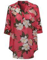Awesome21 Women's Floral Henley Blouse Dress Shirt