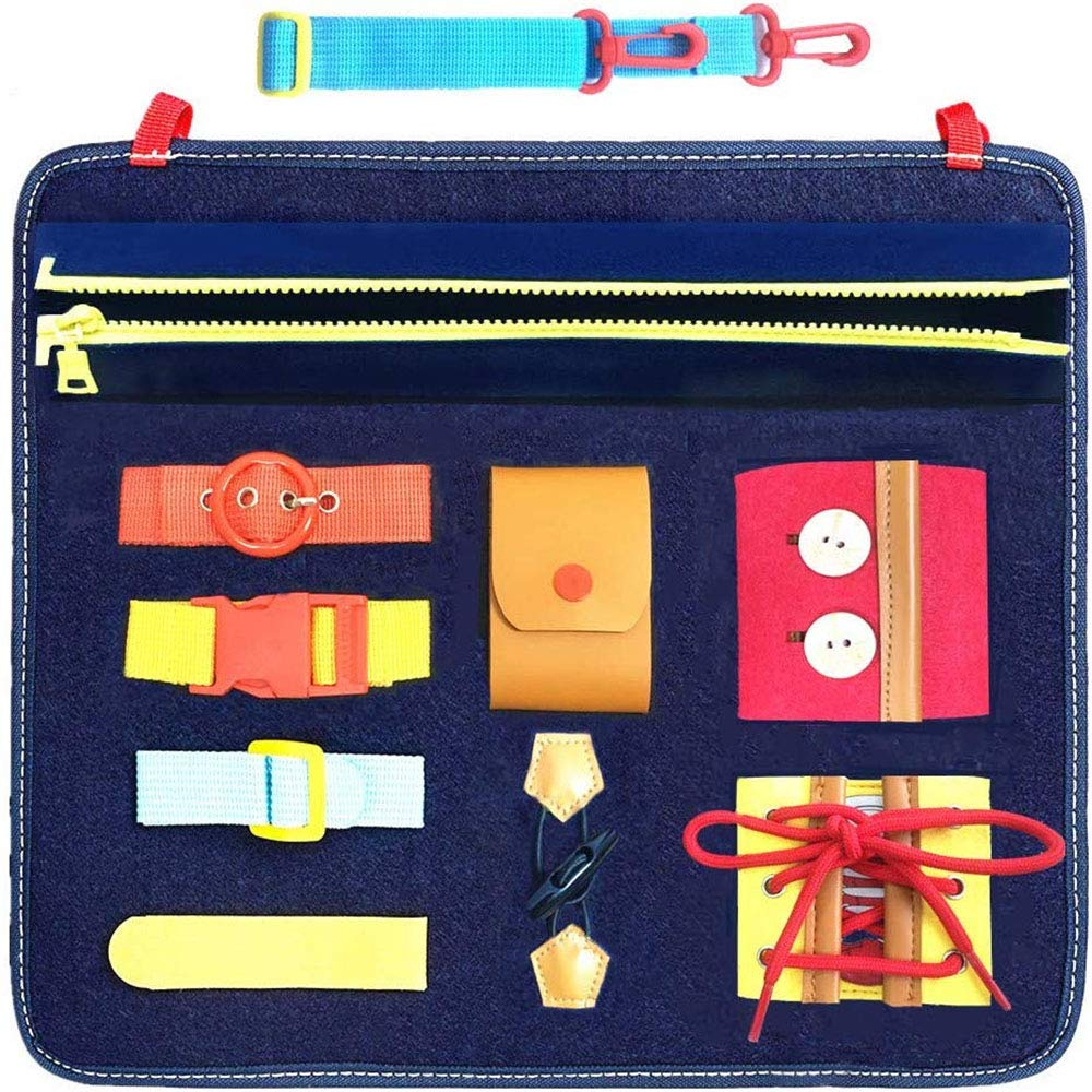 bopopo Busy Boards for Toddlers,Montessori Basic Skills Activity Board for Fine Motor Skills and Learn to Dress ,Educational Toys with Zippers, Buttons, Buckles,Sensory Toy for Airplane or Car Travel