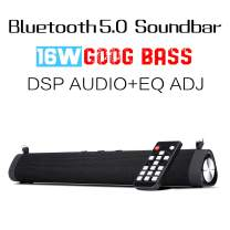 Portable Sound Bar for TV/PC with DSP (EQ Adjustable), 4000mAh Battery Bluetooth 5.0 Outdoor/Indoor Wireless & Wired 16W Soundbar Home Theater Surround Sound Built-in Subwoofer for Phones/Tablets