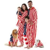 Family Christmas Pajamas Sets, American Flag Hooded Zip Up Flannel Romper Home Onesies Sleepwear