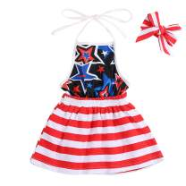 YOUNGER TREE Kids Toddler Baby Girls 4th of July Dress American Flag Sleeveless Party Princess Dresses Summer Clothes