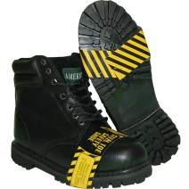 Krazy American Steel Toe Leather 6 Inch Black Men's Work Boot, Black