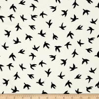 TELIO White/Black Moda Crepe Bird Print Fabric by The Yard