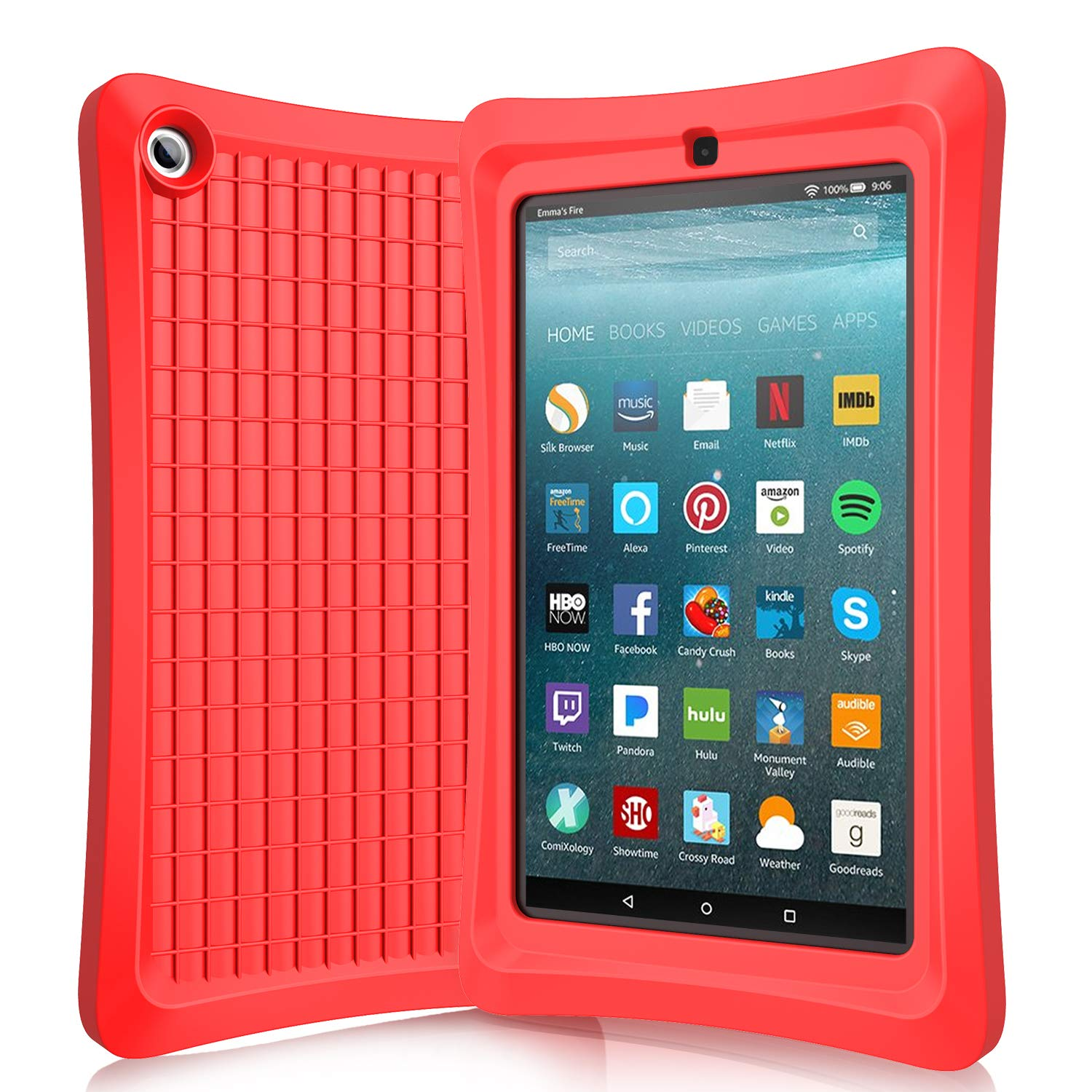 Benazcap Case for All-New Tablet 7 Inch 2019 9th Gen- Lightweight Rugged Shockproof Anti Slip Soft TPU Case Protective Kids Cover for 2019 Tablet 7 Inch 9th Gen, Red