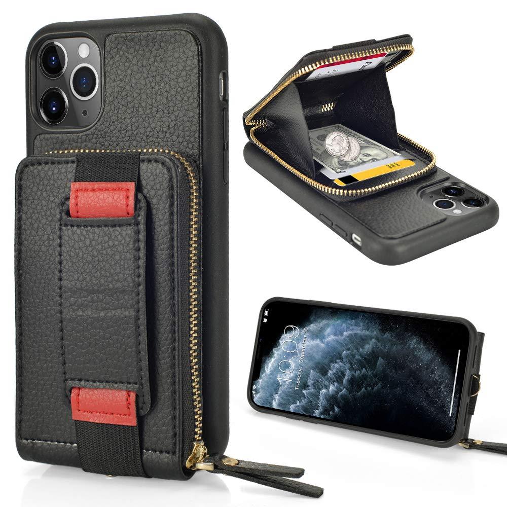 iPhone 11 Pro Max Zipper Case, ZVEdeng iPhone 11 Pro Max Zipper Wallet Case, iPhone 11 Pro Max Card Holder Case with Wallet Kickstand and Wrist Strap Bumper Phone Case Handbag-Black