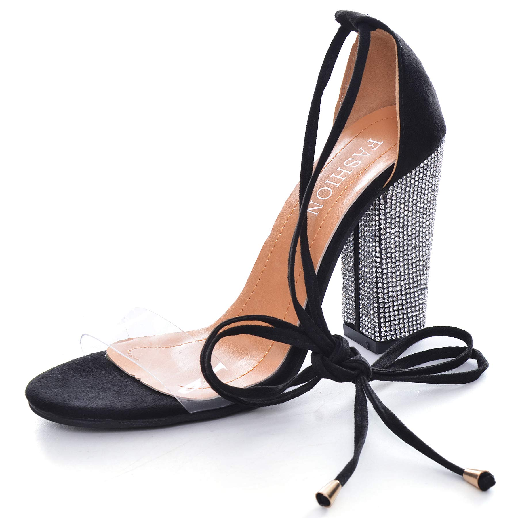 Women's Rhinestone Heels Gladiator Lace up High Heels Sandals with Ankle Strappy Clear Chunky Heels Open Toe Covered Stiletto Dress Party Pumps Shoes Black 8.5