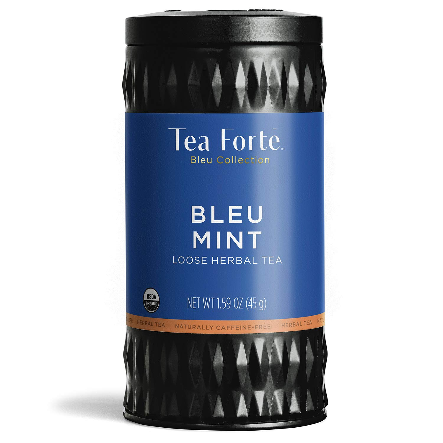 Tea Forté BLEU MINT Butterfly Pea Blue Herbal Tea with Organic Peppermint, Lemon Balm and Licorice Root, Loose Leaf Tea Tin, 1.59 oz Canister