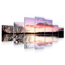 Startonight Huge Canvas Wall Art - Sunset On The Lake Large Framed Set of 7 40 x 95 Inches