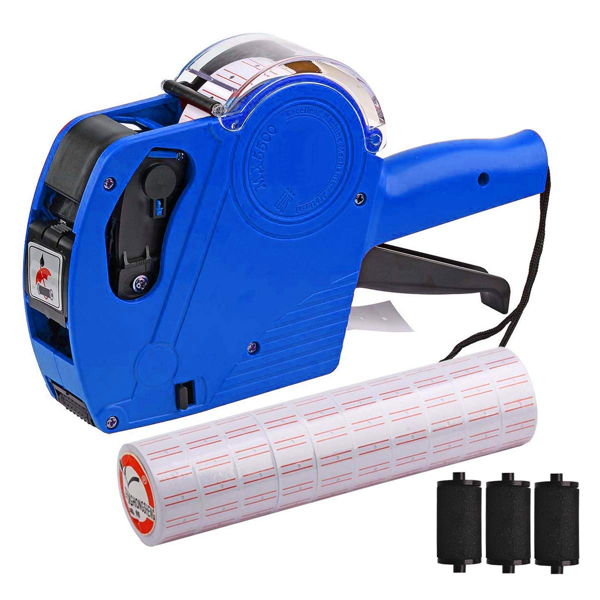 MX-5500 8 Digits Price tag Gun with 5000 Sticker Labels and 3 Ink Refill, Label Maker Pricing Gun Kit Numerical Tag Gun for Office, Retail Shop, Grocery Store, Organization Marking (Blue)