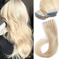 S-noilite 20Pcs 60g Remy Tape in Hair Extensions Human Hair Seamless Skin Weft Invisible Double Sided Glue in hair for women Silky Straight 12 Inch #60 Platinum Blonde Color