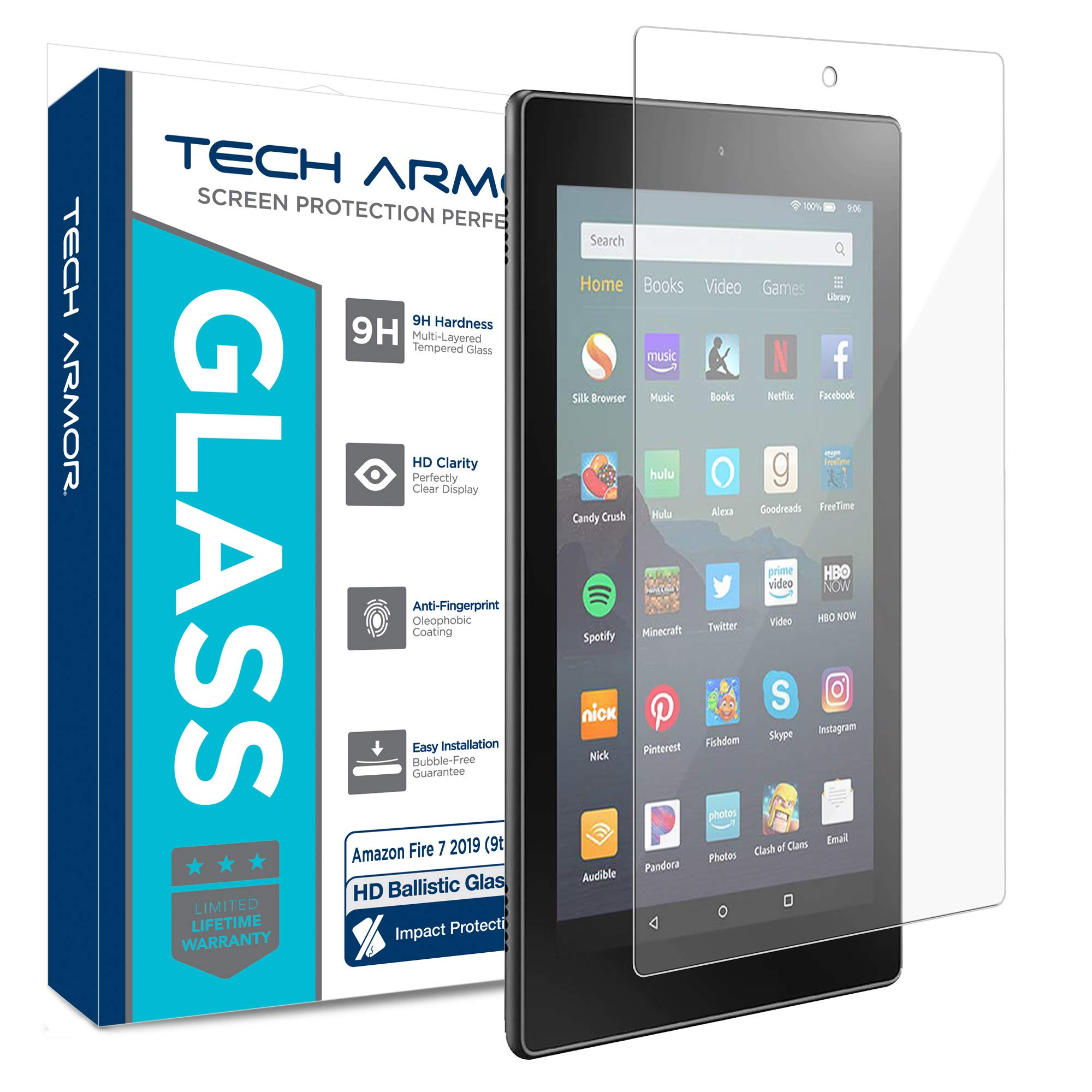Tech Armor Ballistic Glass Screen Protector for Amazon Fire 7 2019 (9th Generation) [1-Pack]