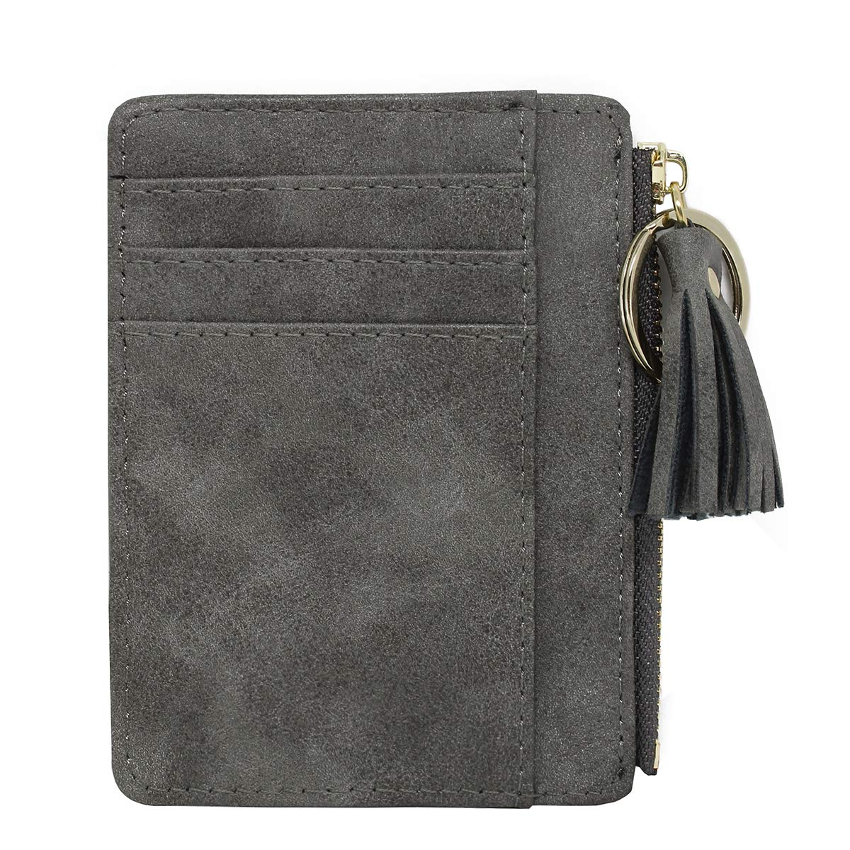 imeetu Slim Card Case Leather Card Holder, Front Pocket Wallets for Men/Women(Gray)