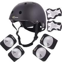 Joncom Kids Adjustable Helmet, with Sports Protective Gear Set Knee Elbow Wrist Pads for Toddler Age 3-8 Boys Girls, Bike Skateboard Hoverboard Scooter Helmet Set