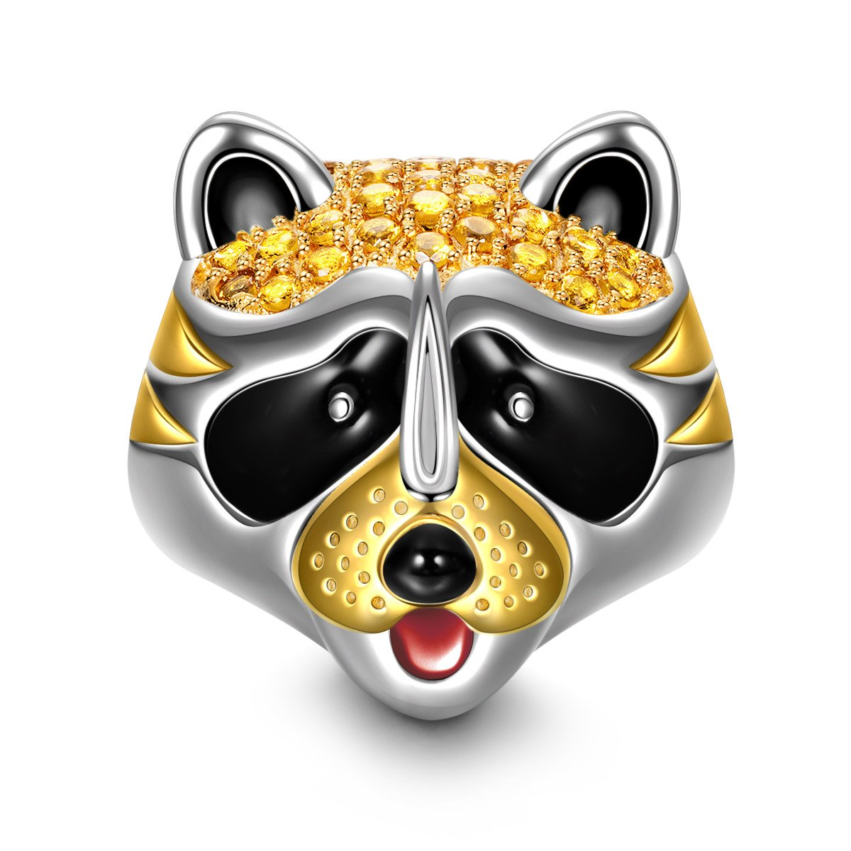 NinaQueen Raccoon 925 Sterling Silver Cubic-Zirconia Gold Plated Happy Family Animal Charms Fit pandöra Charms for Bracelets Necklace Birthday Anniversary Christmas Gifts For Women Wife Her Teen Girls
