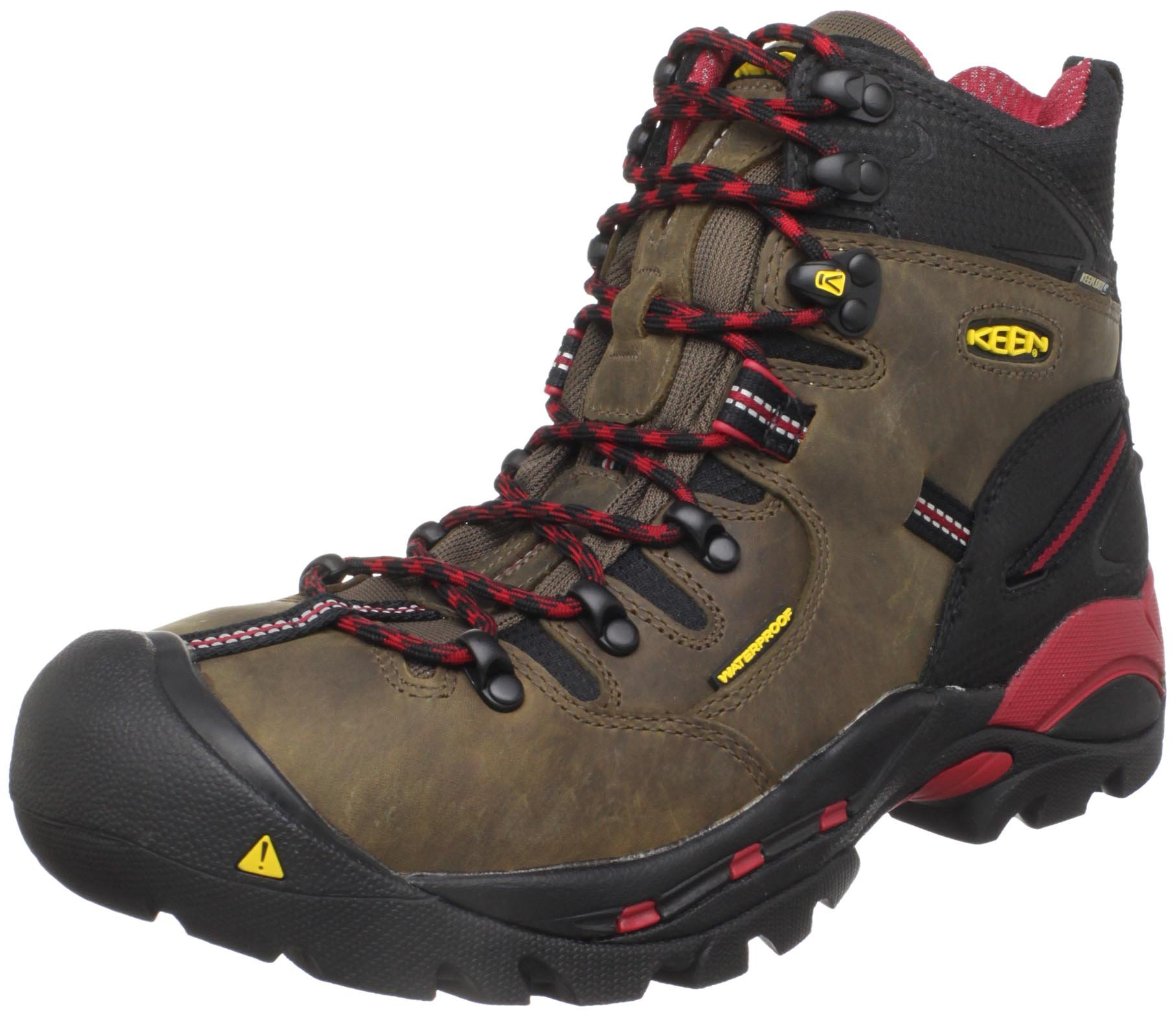 "Keen Utility mens Pittsburgh 6"" Steel Toe Work Boot, Bison Brown/Red, 9.5EE"
