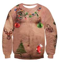 uideazone Men Women Funny Ugly Christmas Sweatshirts 3D Digital Printed Graphic Long Sleeve Pullover Shirts