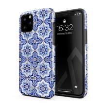 BURGA Phone Case Compatible with iPhone 11 PRO - Blue City Moroccan Tiles Pattern Mosaic Cute Case for Girls Heavy Duty Shockproof Dual Layer Hard Shell + Silicone Protective Cover