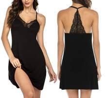 Ekouaer Womens Lingerie Sleepwear Chemises V-Neck Nightgown Full Slip Lace Lounge Sleepwear Dress